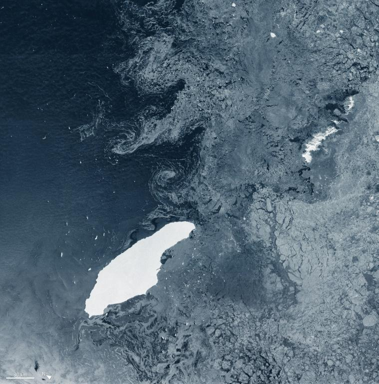 A68a iceberg, drifting in the South Atlantic, is 160 kilometres (93 miles) long and 48 kilometres (30 miles) across at its widest point