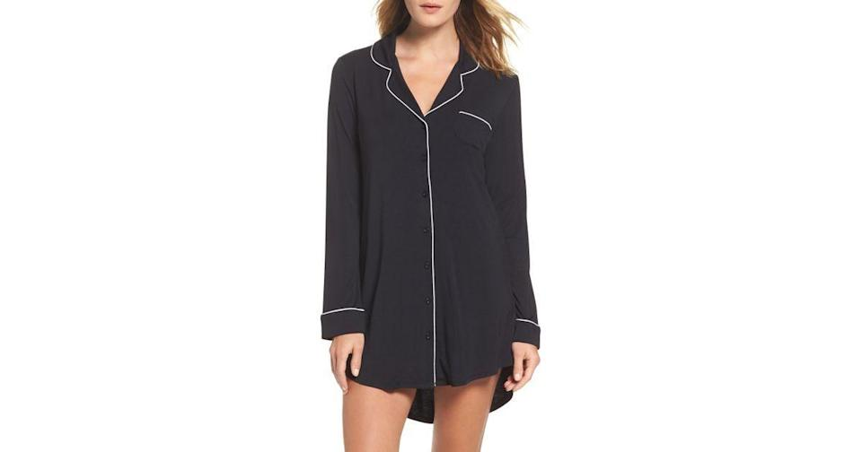 """<p><strong>Nordstrom Lingerie</strong></p><p>Nordstrom</p><p><strong>$49.00</strong></p><p><a href=""""https://go.redirectingat.com?id=74968X1596630&url=https%3A%2F%2Fwww.nordstrom.com%2Fs%2Fnordstrom-lingerie-moonlight-nightshirt%2F3719418&sref=https%3A%2F%2Fwww.womansday.com%2Flife%2Fg26944695%2Fgifts-for-new-moms%2F"""" rel=""""nofollow noopener"""" target=""""_blank"""" data-ylk=""""slk:SHOP NOW"""" class=""""link rapid-noclick-resp"""">SHOP NOW</a></p><p>Cozy PJs are a must after childbirth, and this silky menswear-inspired nightshirt is the ideal option. </p>"""