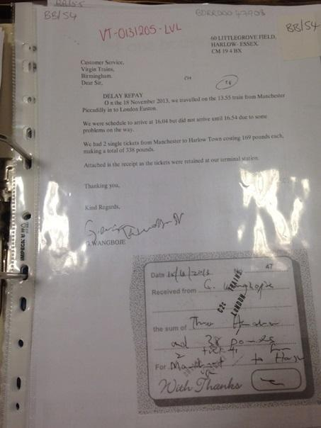 One of the many fraudulent claim letters the group sent (British Transport Police)