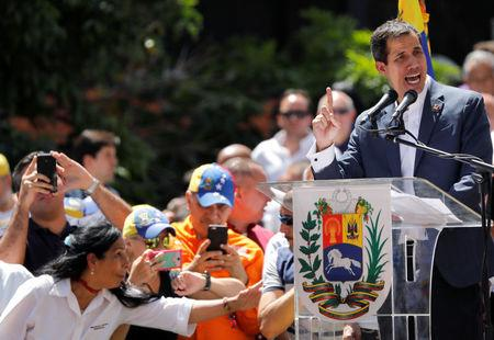 Venezuelan opposition leader Juan Guaido attends a rally to commemorate the Day of the Youth and to protest against Venezuelan President Nicolas Maduro's government in Caracas