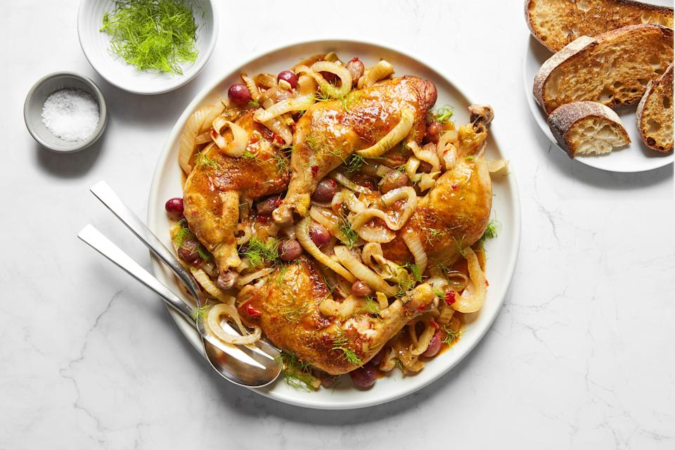 """If this year's Canadian Thanksgiving is going to be a smaller group at the table, consider serving chicken instead of turkey or ham. This autumnal recipe pairs tender braised legs with sweet grapes and fennel, plus a touch of Calabrian chile for spice. <a href=""""https://www.epicurious.com/recipes/food/views/braised-chicken-legs-with-grapes-and-fennel?mbid=synd_yahoo_rss"""" rel=""""nofollow noopener"""" target=""""_blank"""" data-ylk=""""slk:See recipe."""" class=""""link rapid-noclick-resp"""">See recipe.</a>"""