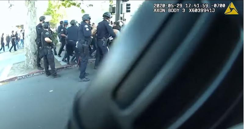 Police body camera footage from a George Floyd protest in San Jose, California (San Jose Police Department)