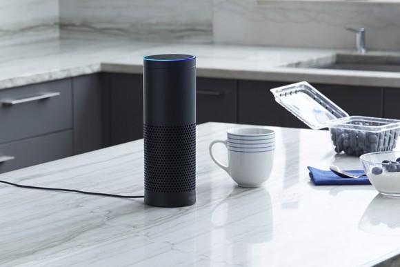 An Amazon eco sitting on a kitchen counter