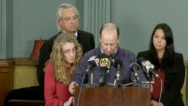PHOTO: Tim Piazza's parents, Jim and Evelyn Piazza, at a press conference, Nov. 13, 2017. (WTAE)