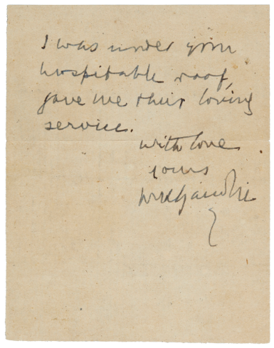 """Throughout his life, Gandhi inspired many with his words which he wrote down in autographed postcards and letters. These included correspondences with other leaders, his followers, his family members, including his rebelling son, Harilal Gandhi and letters to Hitler as well, asking him to end World War II.                                                                           Attacking Hitler for his actions, Gandhi wrote, """"But your writings and pronouncements and those of your friends and admirers leave no room for doubt that many of your acts are monstrous and unbecoming of human dignity, especially in the estimation of men like me who believe in universal friendliness.""""              Gandhi also signed autographs at gatherings and would charge Rs 5, with the funds going to various causes. While many of Gandhi's autographed letters have been auctioned, they are increasingly rare to find today."""