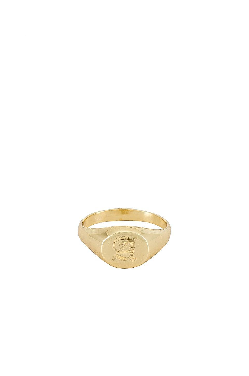 <p>This personalized <span>The M Jewelers NY Signet Ring</span> ($100) is classic.</p>