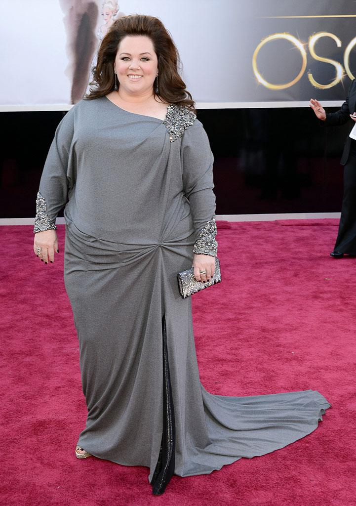 """Worst: First, let me say, we love Melissa McCarthy. We really wanted to love her David Meister dress. But we didn't. As my sister so appropriately put it, """"she looks like she got her dress at Macy's."""" And while that's fine for many occasions, the Oscar red carpet isn't one of them."""