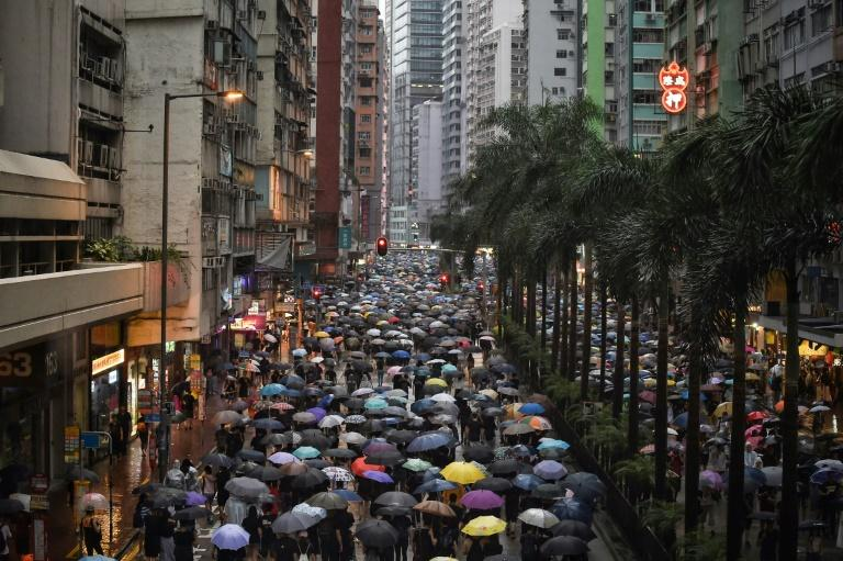 Hong Kong's protests have morphed from opposition to a proposed extradition law into a wider call for democratic rights in the semi-autonomous city (AFP Photo/Lillian SUWANRUMPHA                )
