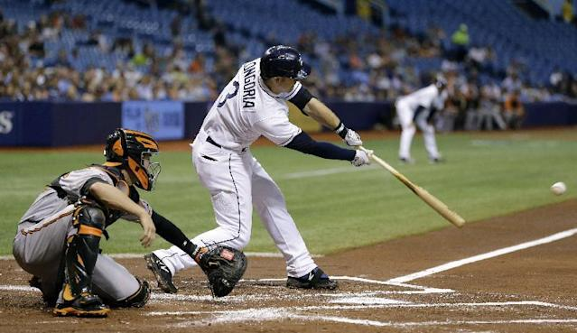Tampa Bay Rays' Evan Longoria (3) lines an RBI single off Baltimore Orioles starting pitcher Ubaldo Jimenez during the first inning of a baseball game Thursday, May 8, 2014, in St. Petersburg, Fla. Rays' Desmond Jennings scored on the hit. Catching of rthe Orioles is Caleb Joseph. (AP Photo/Chris O'Meara)