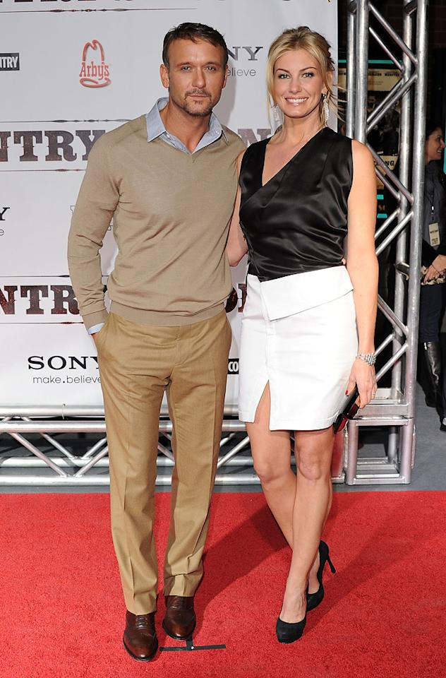 "<a href=""http://movies.yahoo.com/movie/contributor/1800227534"">Tim McGraw</a> and <a href=""http://movies.yahoo.com/movie/contributor/1800330125"">Faith Hill</a> attend the Nashville premiere of <a href=""http://movies.yahoo.com/movie/1810133348/info"">Country Strong</a> on November 8, 2010."
