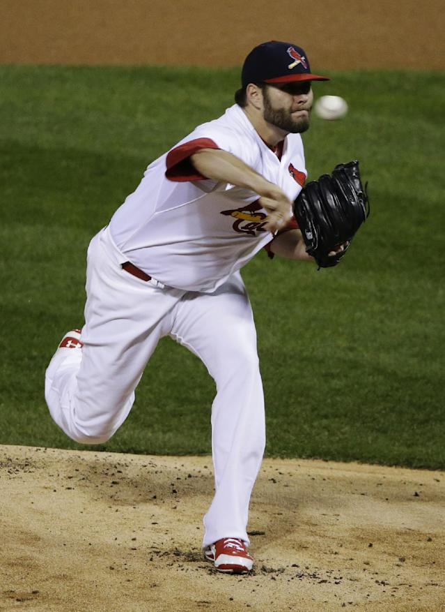 St. Louis Cardinals starting pitcher Lance Lynn throws during the first inning of Game 4 of baseball's World Series against the Boston Red Sox Sunday, Oct. 27, 2013, in St. Louis. (AP Photo/Charlie Neibergall)