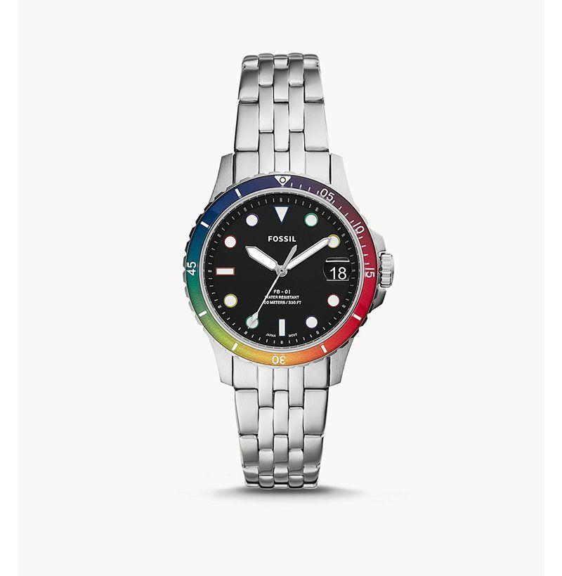 """<p><strong>Fossil</strong></p><p>fossil.com</p><p><strong>$99.00</strong></p><p><a href=""""https://go.redirectingat.com?id=74968X1596630&url=https%3A%2F%2Fwww.fossil.com%2Fen-us%2Fproducts%2Flimited-edition-pride-watch%2FLE1111.html%3Fgclid%3DCj0KCQjwoub3BRC6ARIsABGhnyYlFchBXVeyof6EWM4iAcTwxDA2fH9jlnPKaheWFCzvE90yJrpfhnQaAgTSEALw_wcB%26gclsrc%3Daw.ds&sref=https%3A%2F%2Fwww.esquire.com%2Fstyle%2Fmens-fashion%2Fg33003059%2Flgbtq-pride-brands-products-to-buy-support%2F"""" rel=""""nofollow noopener"""" target=""""_blank"""" data-ylk=""""slk:Buy"""" class=""""link rapid-noclick-resp"""">Buy</a></p><p>Fossil is donating a portion of proceeds to local and global LGBTQ+ youth service organizations.</p>"""