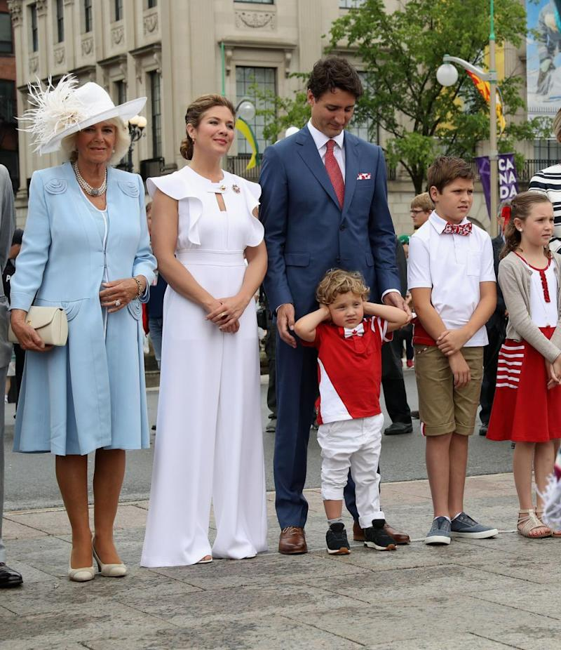 He famously put his hands over his ears as he watched Canada Day celebrations in 2017 with Prince Charles and Camilla. Photo: Getty Images