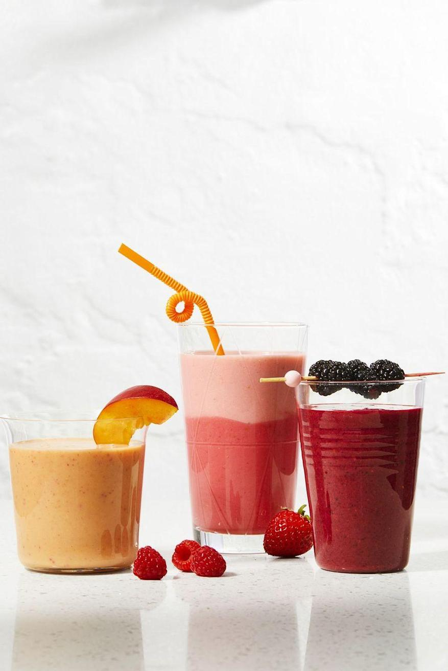"""<p>Our go-to smoothie formula? Purée fresh fruit with yogurt and milk! Or, make multiple batches and layer two flavors in one glass for an Insta-worthy effect.</p><p><em><a href=""""https://www.goodhousekeeping.com/food-recipes/a34236605/how-to-make-a-smoothie-recipe/"""" rel=""""nofollow noopener"""" target=""""_blank"""" data-ylk=""""slk:Get the recipe for Super-Simple Summer Smoothies »"""" class=""""link rapid-noclick-resp"""">Get the recipe for Super-Simple Summer Smoothies »</a></em><br></p>"""