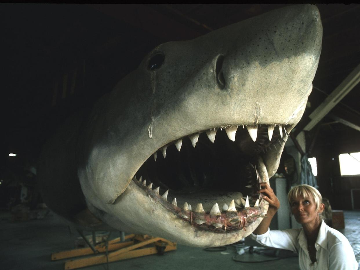Valerie Taylor photographed underneath the famous mechanical shark from 'Jaws' (Photo: Disney+)