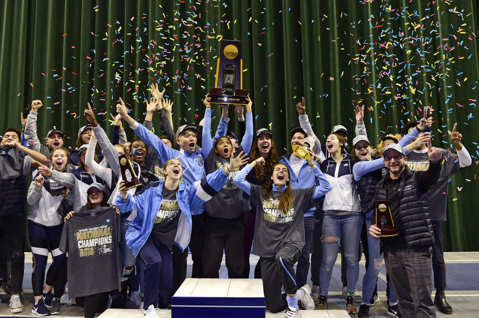 CLEVELAND, OH - MARCH 24: The Columbia Lions celebrate their national title during the Division I Women's Fencing Championship held at The Wolstein Center on the Cleveland State University campus on March 24, 2019 in Cleveland, Ohio. (Photo by Jason Miller/NCAA Photos via Getty Images)