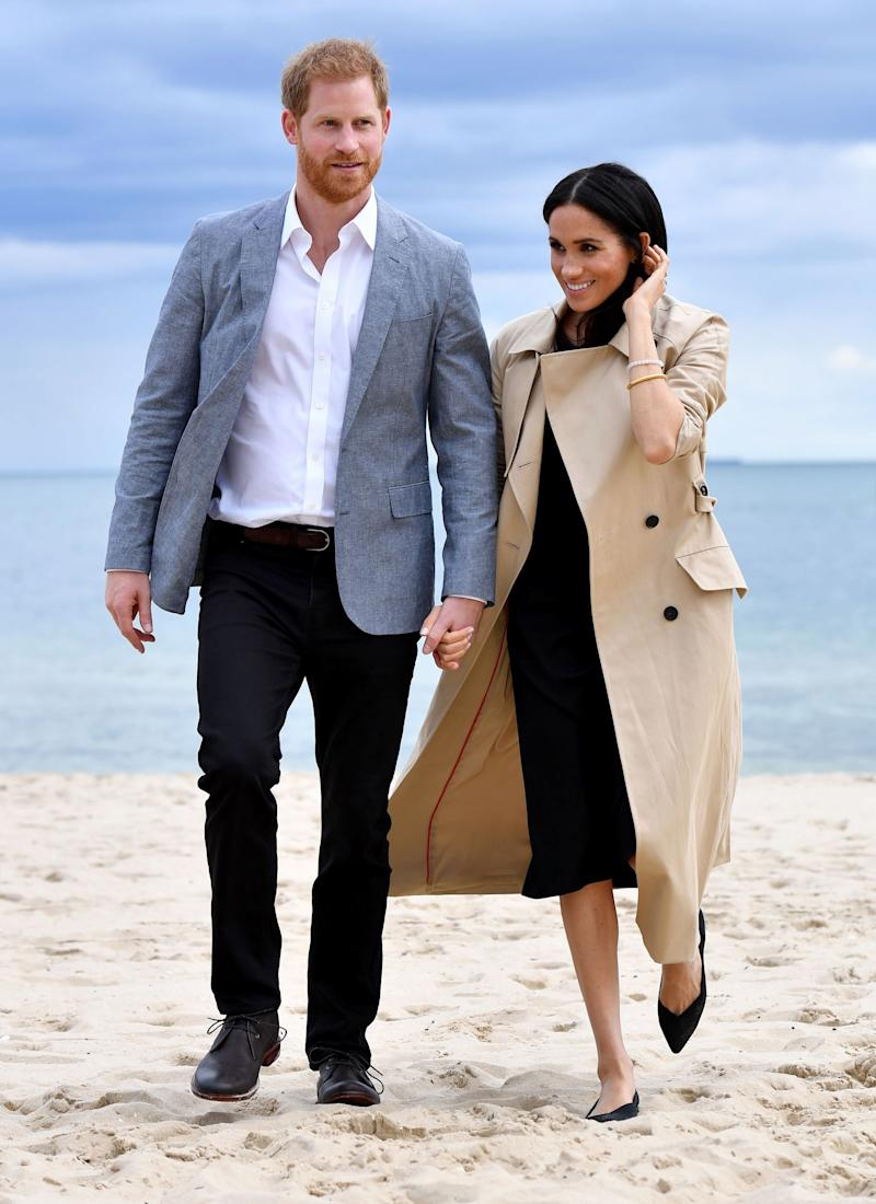 Meghan Markle wearing pointed-toe flats by Rothy's during her royal tour of Australia.