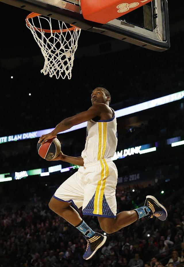 Paul George of the Indiana Pacers participates in the slam dunk contest during the skills competition at the NBA All Star basketball game, Saturday, Feb. 15, 2014, in New Orleans. (AP Photo/Gerald Herbert)