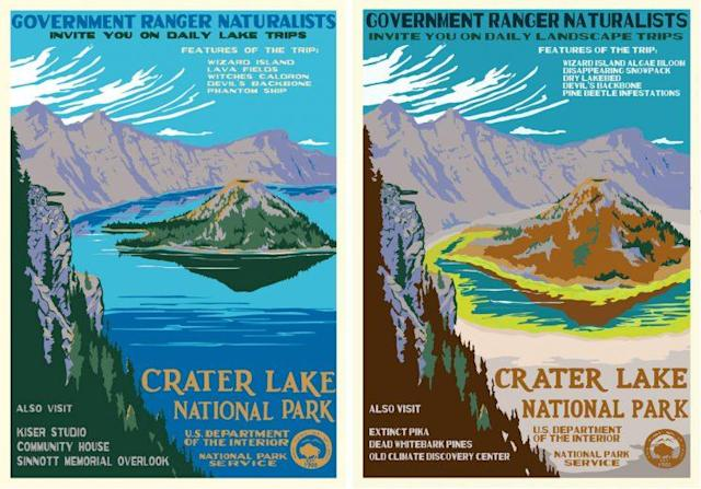 Hannah Rothstein based her paintings on artwork created by Ranger Doug in the style of Works Progress Administration posters. (Images: Left, Ranger Doug/rangerdoug.com, right, Hannah Rothstein/hrothstein.com)