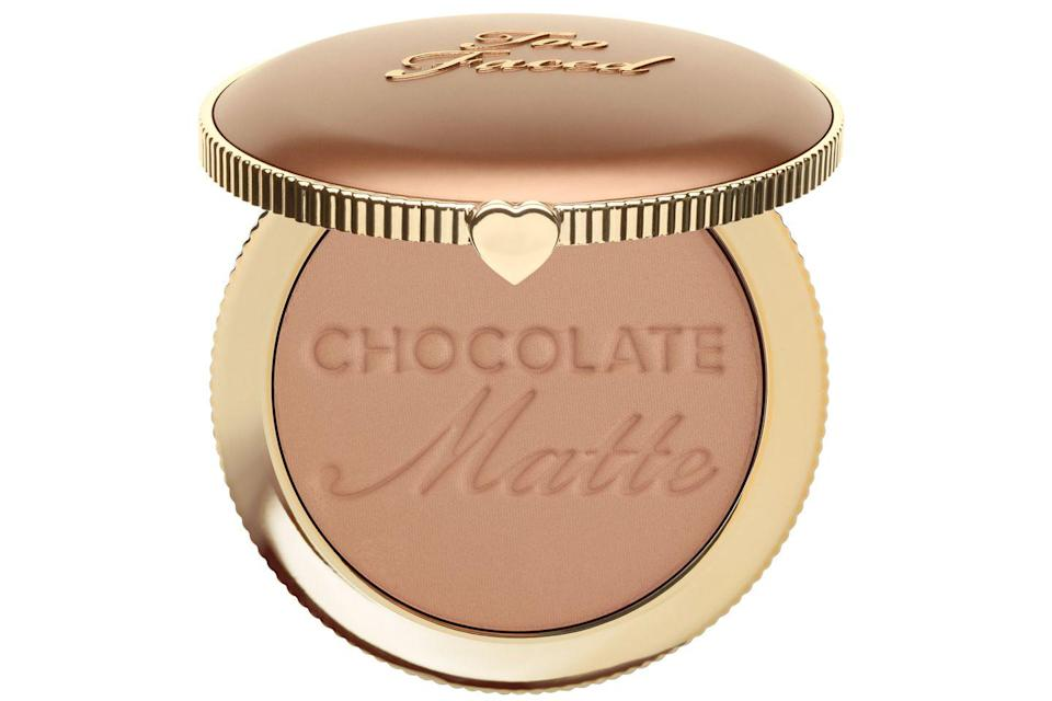 """<p>It's hard to find a matte bronzer that's 100% matte, <em>so</em> many have sneaky shimmers thrown in. But not Too Faced's Chocolate Matte Bronzer, it gives a bronze finish to the skin that's totally sheen-free. Plus, it smells like chocolate. Sold. </p><p><a href=""""https://www.cultbeauty.co.uk/too-faced-chocolate-soleil-matte-bronzer.html"""" rel=""""nofollow noopener"""" target=""""_blank"""" data-ylk=""""slk:buy now"""" class=""""link rapid-noclick-resp"""">buy now</a><br></p>"""