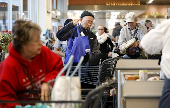 "Gelson's Market in Manhattan Beach has a ""seniors shopping hour"" before the store opens to the general public. <span class=""copyright"">(Christina House/Los Angeles Times)</span>"