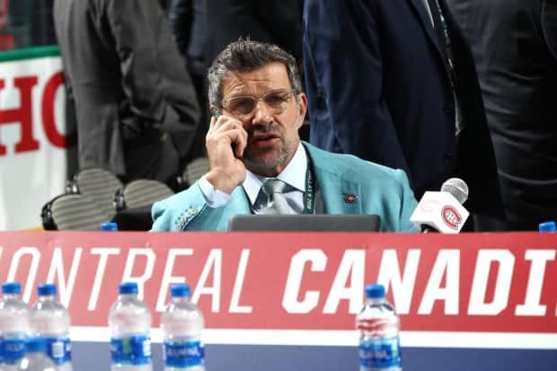 Montreal Canadiens general manager Marc Bergevin, seen here in a file photo, announced on Friday the team had selected Logan Mailloux with their first-round pick.  (Bruce Bennett/Getty Images - image credit)