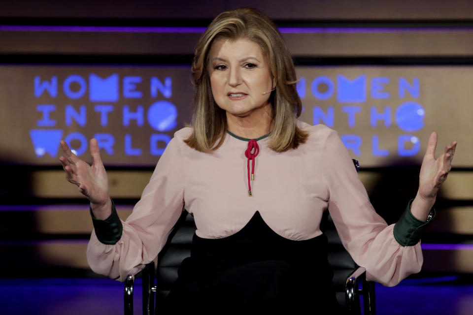 Thrive Global Founder and CEO Arianna Huffington speaks during the Women in the World Summit at Lincoln Center in New York, Thursday, April 6, 2017. (AP Photo/Richard Drew)