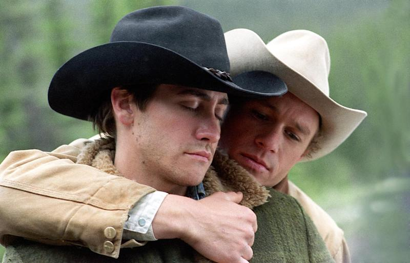 Jake Gyllenhaal and Heath Ledger in Brokeback Mountain (Credit: Focus Features)