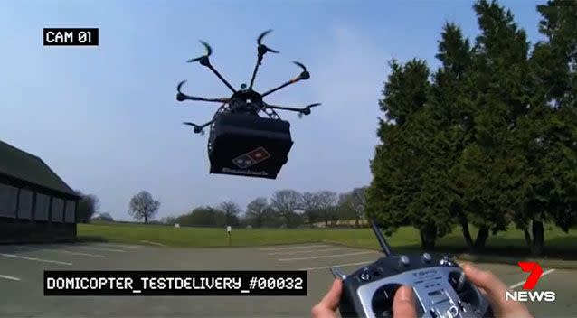 The drone flies 60m in the air at speeds of 30kph. Photo: 7 News