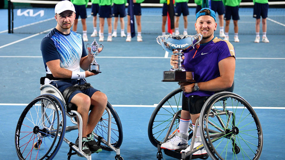 Sam Schroder and Dylan Alcott, pictured here after their Australian Open final.