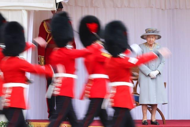 The Queen during the ceremony at Windsor Castle