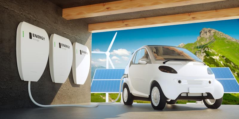 Rendering of a garage with energy storage and an EV.