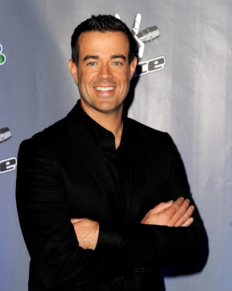 """CULVER CITY, CA - OCTOBER 28:  Host Carson Daly arrives at a press junket for NBC's """"The Voice"""" at Sony Studios on October 28, 2011 in Culver City, California.  (Photo by Kevin Winter/Getty Images)"""