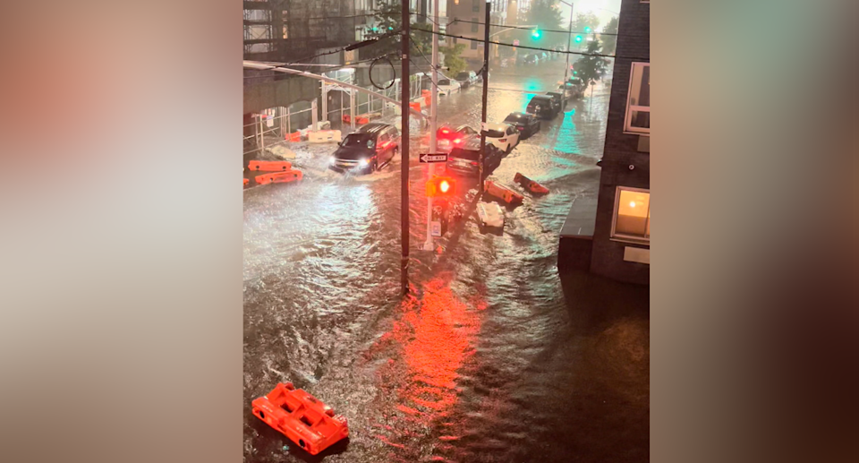 Roads in the Brooklyn borough of Williamsburg have been flooded. Source: Reuters