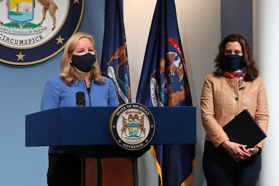 Tina Freese Decker, President & CEO of Spectrum Health, left joined Gov. Gretchen Whitmer for an update on the COVID-19 Pandemic and Response on April 9, 2021.