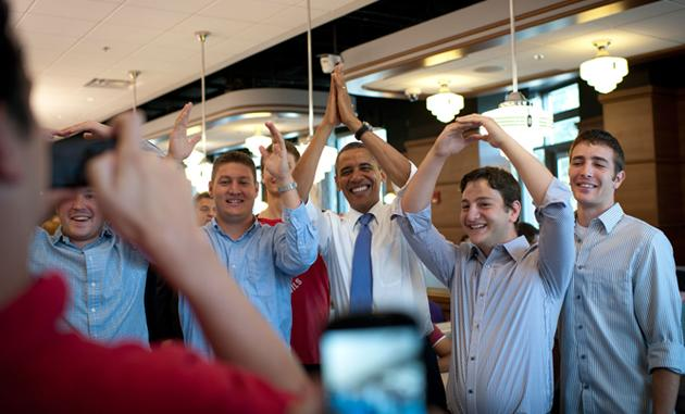 Barack Obama's camp tweeted this photo of the President and three young men spelling O-H-I-O with their arms.