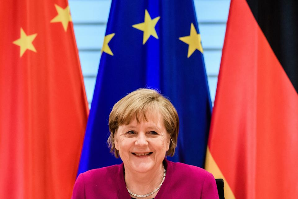 BERLIN, GERMANY - APRIL 28: German Chancellor Angela Merkel looks on during the beginning of a virtual plenary session of the 6th German-Chinese government consultations on April 28, 2021 in Berlin, Germany.  (Photo by Clemens Bilan-Pool/Getty Images) (Photo: Pool via Getty Images)