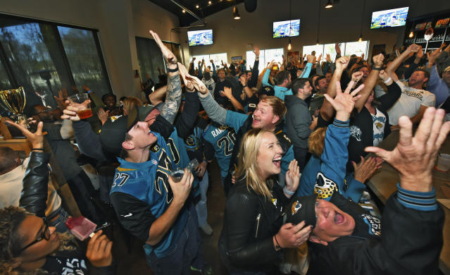 "<a class=""link rapid-noclick-resp"" href=""/nfl/teams/jac"" data-ylk=""slk:Jacksonville Jaguars"">Jacksonville Jaguars</a> fans have plenty of reasons to high-five entering 2018. This is a terrific team, if not quite a fantasy juggernaut. (Bob Mack/The Florida Times-Union via AP)"
