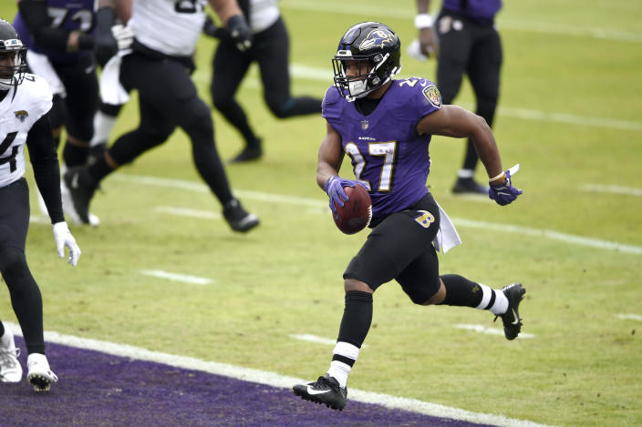Baltimore Ravens running back J.K. Dobbins scores a touchdown on a run against the Jacksonville Jaguars during the first half of an NFL football game, Sunday, Dec. 20, 2020, in Baltimore. (AP Photo/Gail Burton)