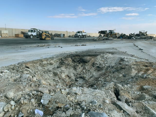 Iranian bombing caused a crater at Ain al-Asad air base in Anbar, Iraq