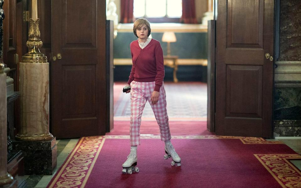 If The Crown is anything to go by, Diana was frequently skating around Buckingham Palace - Des Willie/ Netflix