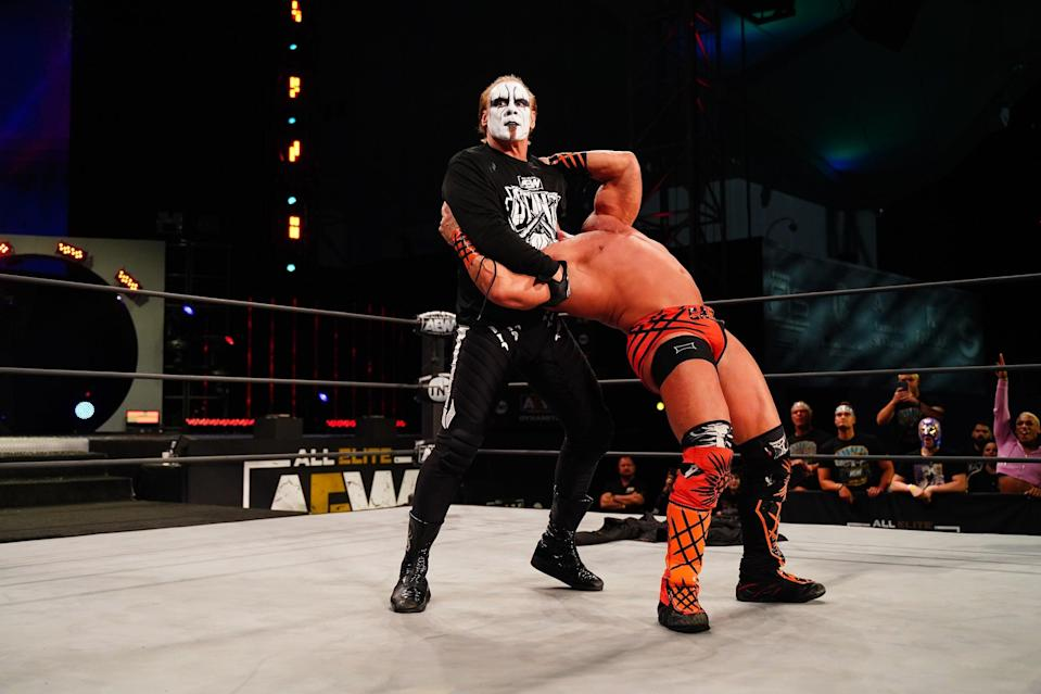 Sting has already shown he's prepared to get physical following his return. (All Elite Wrestling)