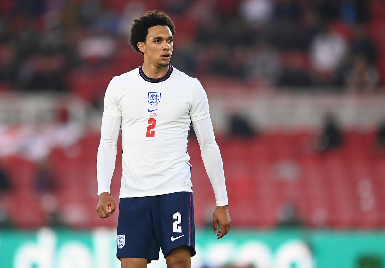 MIDDLESBROUGH, ENGLAND - JUNE 02: Trent Alexander-Arnold of England looks on during the international friendly match between England and Austria at Riverside Stadium on June 02, 2021 in Middlesbrough, England. (Photo by Michael Regan - The FA/The FA via Getty Images)