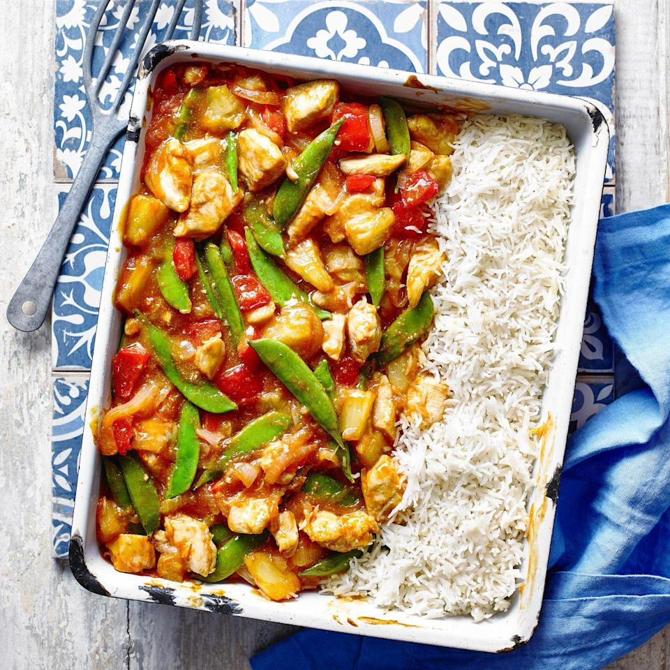 """<p>Midweek fakeaway.</p><p><strong>Recipe: <a href=""""https://www.goodhousekeeping.com/uk/food/recipes/a29297555/sweet-sour-chicken-rice-traybake/"""" rel=""""nofollow noopener"""" target=""""_blank"""" data-ylk=""""slk:Sweet and Sour Chicken with Rice Traybake"""" class=""""link rapid-noclick-resp"""">Sweet and Sour Chicken with Rice Traybake</a></strong></p>"""