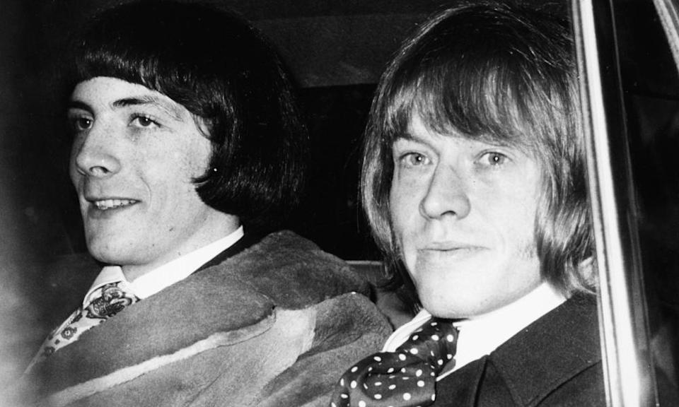"""Brian Jones and Prince Stanislas Klossowski De Rola, a.k.a. """"Stash"""", arrive by car at West London Magistrates Court, where they are appeared on drug possession charges on 11 May 1967."""