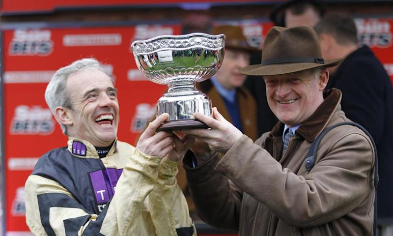 Ruby Walsh and Willie Mullins after Nichols Canyon had won the Stayers' Hurdle at Cheltenham