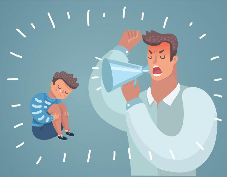 Cartoon SVector Illustration of Father Scolding His Son. Angry Dad Yells at Little Scared Kid. Children's psychological problems