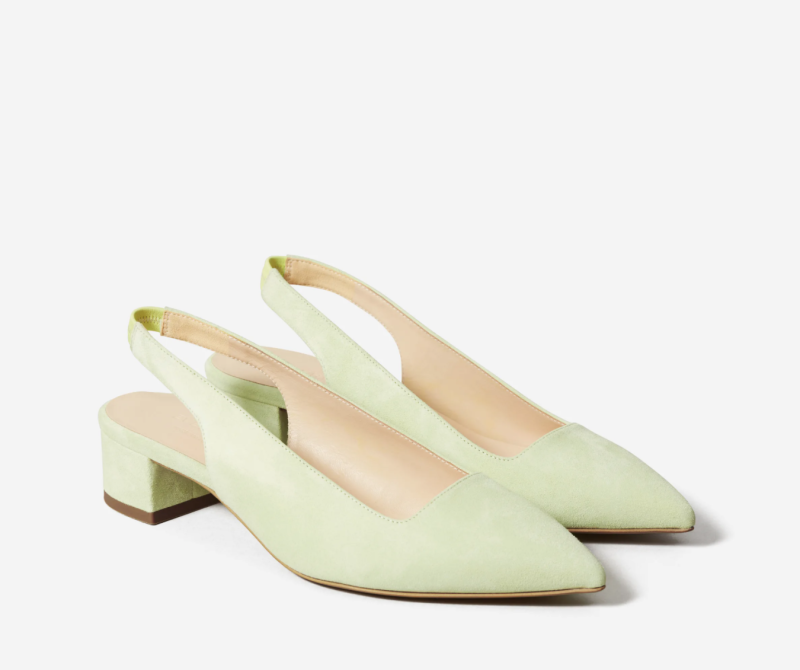 The Editor Slingback Heel in Spearmint Suede. Image via Everlane.