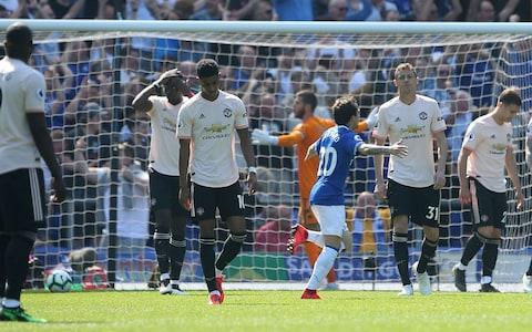 Romelu Lukaku, Paul Pogba, Marcus Rashford, Nemanja Matic, Diogo Dalot and Phil Jones of Manchester United react to conceding a goal to Richarlison of Everton during the Premier League match between Everton FC and Manchester United at Goodison Park - Credit: Getty images