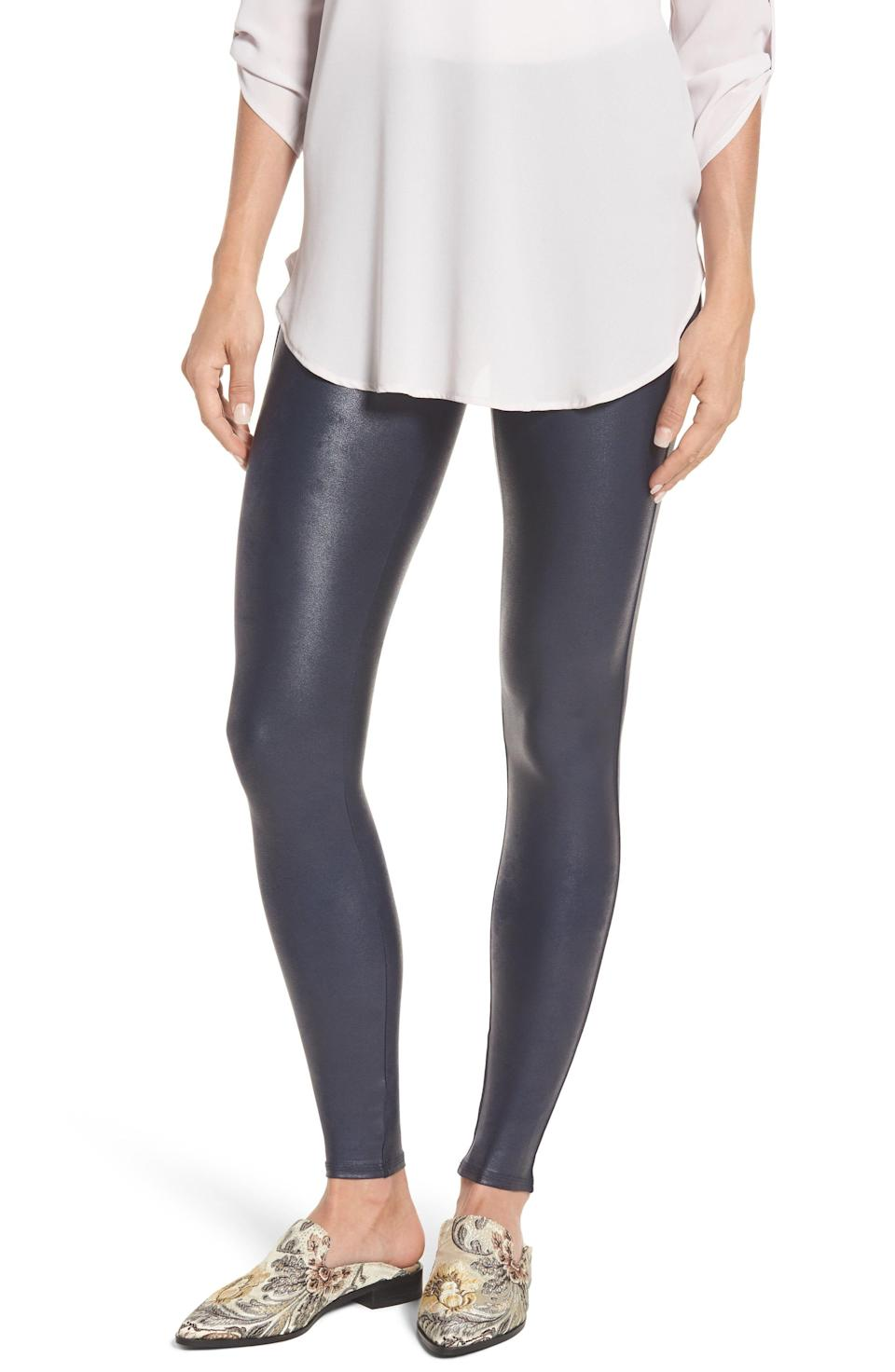 """<p><strong>SPANX</strong></p><p>nordstrom.com</p><p><strong>$98.00</strong></p><p><a href=""""https://go.redirectingat.com?id=74968X1596630&url=https%3A%2F%2Fwww.nordstrom.com%2Fs%2Fspanx-faux-leather-leggings-regular-petite-plus-size%2F3828364&sref=https%3A%2F%2Fwww.goodhousekeeping.com%2Fclothing%2Fg27206929%2Fbest-black-leggings%2F"""" rel=""""nofollow noopener"""" target=""""_blank"""" data-ylk=""""slk:Shop Now"""" class=""""link rapid-noclick-resp"""">Shop Now</a></p><p>For black leggings you can wear to work or on a night out, this faux leather style is super chic and a bestseller. And <strong>since it's coming from Spanx, it has the built-in <a href=""""http://www.goodhousekeeping.com/clothing/best-shapewear/g2815/best-shapewear-for-women/"""" rel=""""nofollow noopener"""" target=""""_blank"""" data-ylk=""""slk:shapewear"""" class=""""link rapid-noclick-resp"""">shapewear</a> you know and love</strong>, plus the nylon/spandex fabric has a sheen appearance that reviewers say makes their legs look long and lean.</p><p>If the leather look isn't for you, Spanx also has a black <a href=""""https://go.redirectingat.com?id=74968X1596630&url=https%3A%2F%2Fwww.spanx.com%2Fponte-ankle-leggings&sref=https%3A%2F%2Fwww.goodhousekeeping.com%2Fclothing%2Fg27206929%2Fbest-black-leggings%2F"""" rel=""""nofollow noopener"""" target=""""_blank"""" data-ylk=""""slk:ponte version"""" class=""""link rapid-noclick-resp"""">ponte version</a> of these leggings made of a soft, stretchy, and thick fabric. Both the faux leather and ponte styles have slimming waistbands and are machine washable for easy care.</p>"""